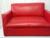 red-mock-leather-double-couch
